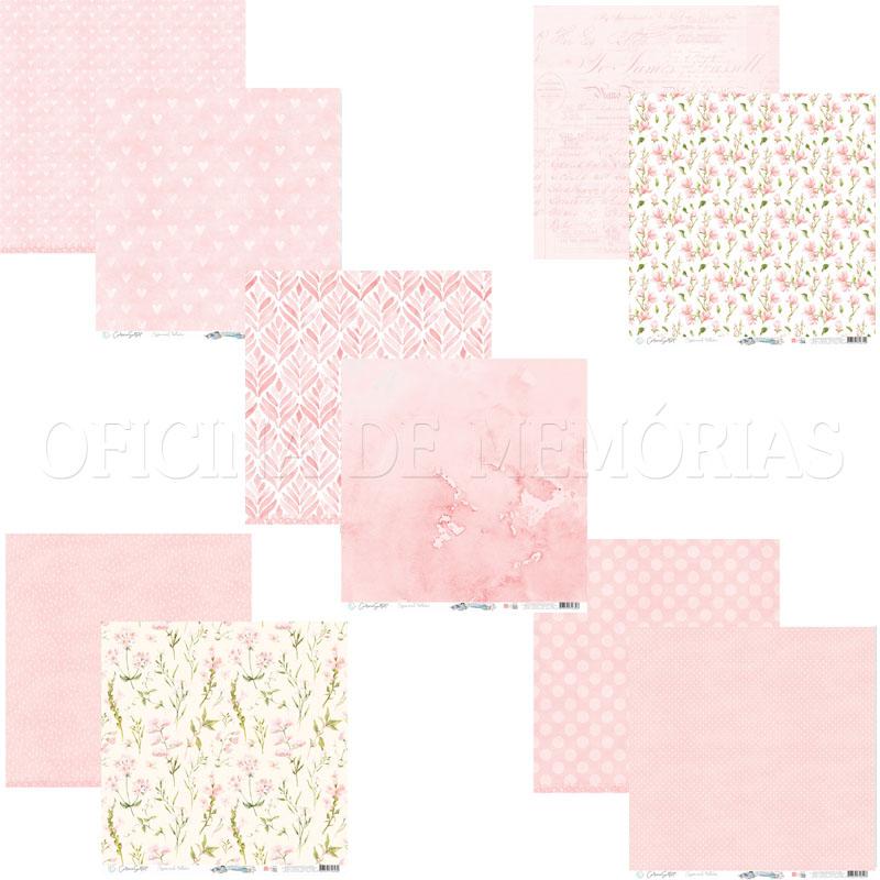 Kit c/ 5 papéis Scrap - Essencial Set ROSE RELAX Carina Sartor